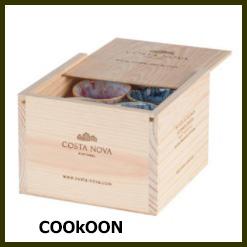 Costa Nova espresso 8 Espressokoppen in Houten Box gemengde kleuren 9cl 1