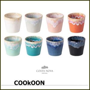 Costa Nova espresso 8 Espressokoppen in Houten Box gemengde kleuren 9cl