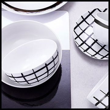 S&P Bowl 18xH5,5cm black white Paint - set4 A