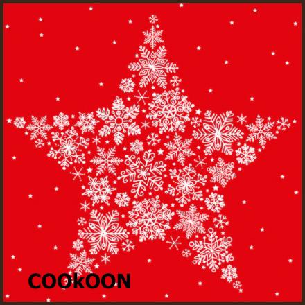 Atelier Papieren Servetten Kerst, Modern classics, Big crystal star negative red, 33x33cm