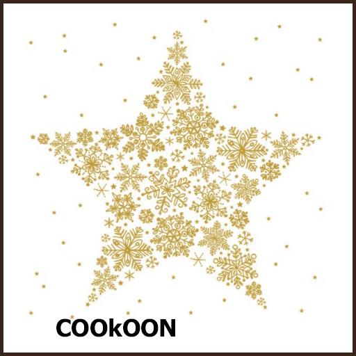 Atelier Papieren Servetten Kerst, Golden Night, Big crystal star, white-gold, 33x33cm